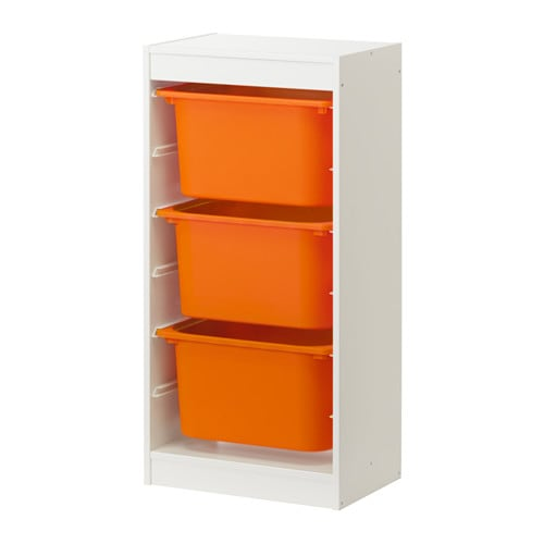 trofast aufbewahrung mit boxen wei orange ikea. Black Bedroom Furniture Sets. Home Design Ideas
