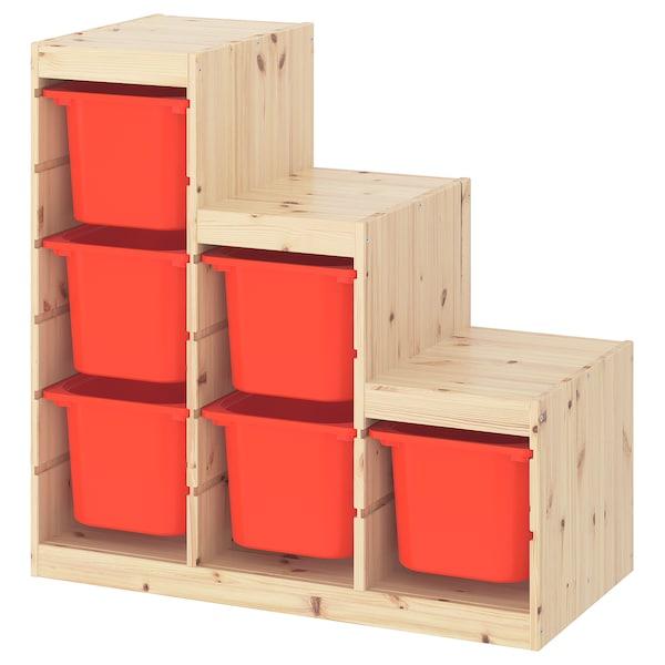 TROFAST Aufbewahrungskombi, Kiefer weiß gebeizt, hell/orange, 94x44x91 cm