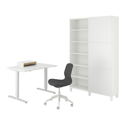TROTTEN/LÅNGFJÄLL / BESTÅ/LAPPVIKEN Schreibtisch+Aufbewahrungskombi, und Drehstuhl weiß/grau