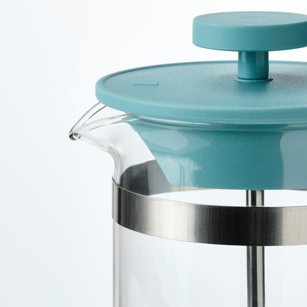 UPPHETTA Kaffee-/Teezubereiter, Glas/dunkeltürkis, 0.4 l