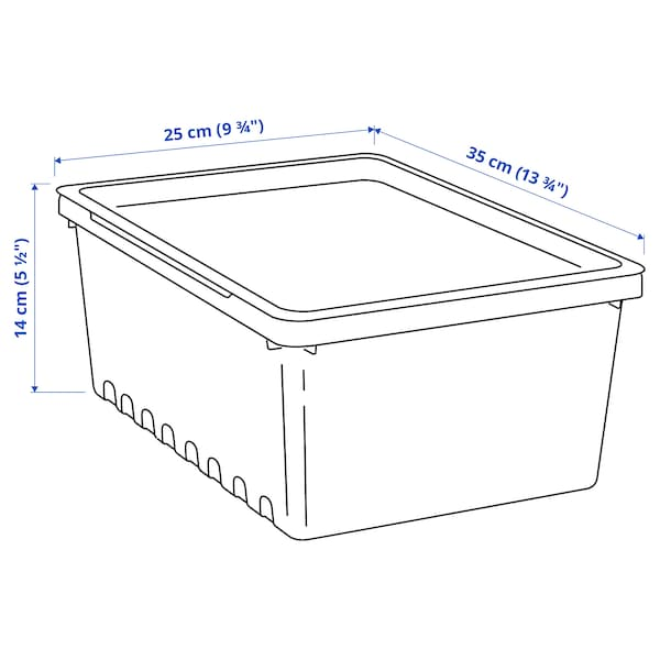 UPPSNOFSAD Box mit Deckel, schwarz, 35x25x14 cm/9 l