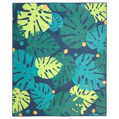 URSKOG Teppich flach gewebt, Blätter/grün, 133x160 cm
