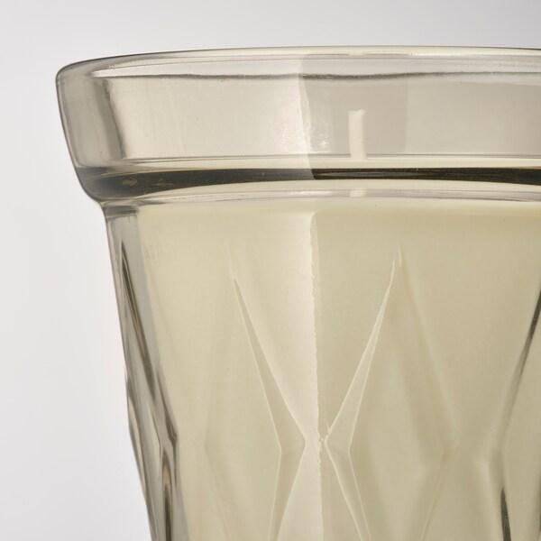 VÄLDOFT Duftkerze im Glas, Rhabarber und Holunder/beige, 8 cm