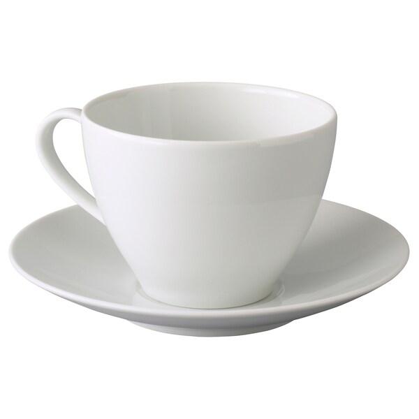 VÄRDERA Teetasse mit Untertasse, weiß, 36 cl