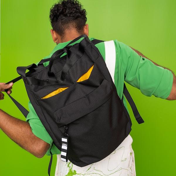 VÄRLDENS Tasche/Rucksack, schwarz, 28x12x44 cm/16 l
