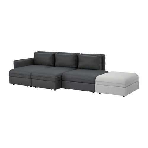 vallentuna 4er sofa mit bett hillared dunkelgrau orrsta hellgrau ikea. Black Bedroom Furniture Sets. Home Design Ideas