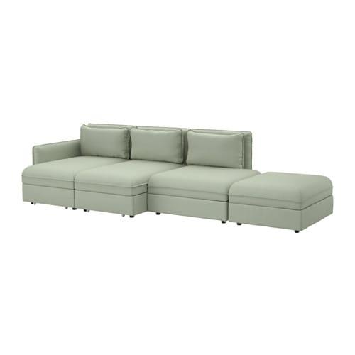 Vallentuna 4er sofa mit bett hillared gr n ikea for Bett mit couch