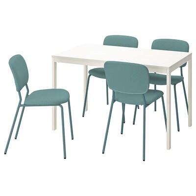 VANGSTA / KARLJAN Tisch und 4 Stühle, weiß/türkis, 120/180 cm
