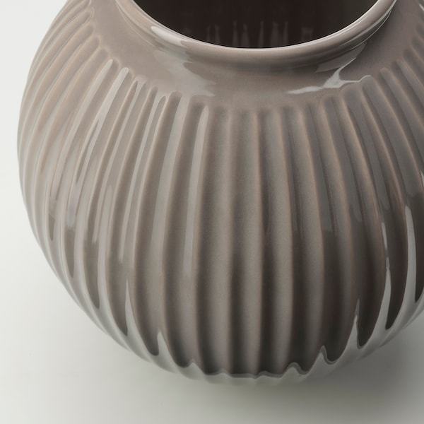 VANLIGEN Vase, grau, 18 cm