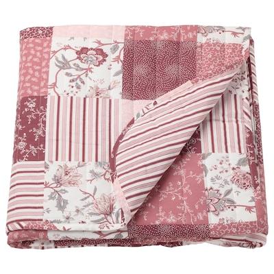 VÅRRUTA Tagesdecke, weiß/rosa, 160x250 cm