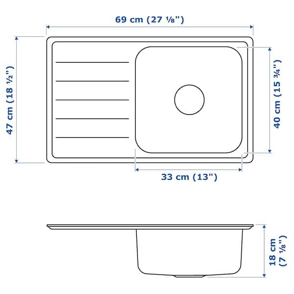VATTUDALEN Einbauspüle, 1 Becken/Abtropffläche, Edelstahl, 69x47 cm