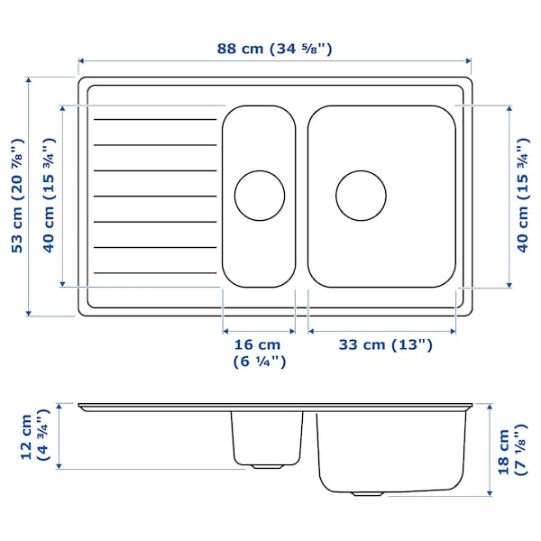 VATTUDALEN Einbauspüle 1½ Becken/Abtr, Edelstahl, 88x53 cm