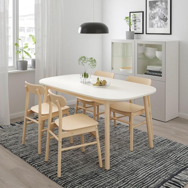 VEDBO / RÖNNINGE Tisch und 4 Stühle, weiß/Birke, 160x95 cm