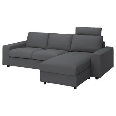 VIMLE 3er-Sofa mit Récamiere, mit breiten Armlehnen mit Nackenkissen/Hallarp grau
