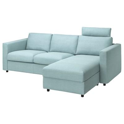 VIMLE 3er-Sofa mit Récamiere, mit Nackenkissen Saxemara/hellblau