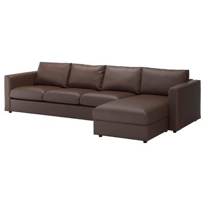 VIMLE 4er-Sofa mit Récamiere/Farsta dunkelbraun 80 cm 164 cm 322 cm 98 cm 125 cm 4 cm 15 cm 65 cm 292 cm 55 cm 45 cm