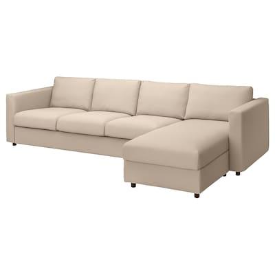 VIMLE 4er-Sofa mit Récamiere, Hallarp beige