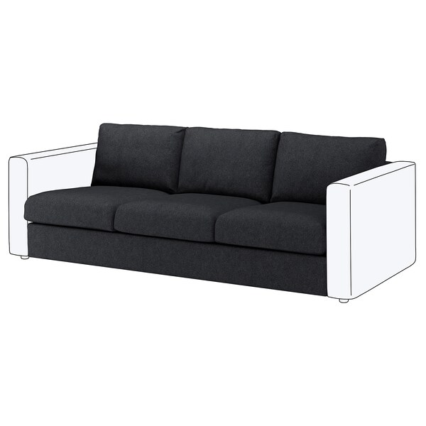 VIMLE Bezug Sitzelement 3, Tallmyra schwarz/grau