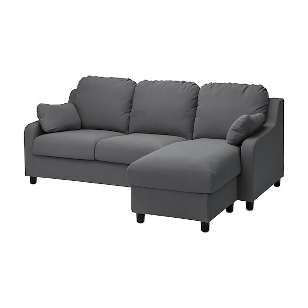 VINLIDEN Bezug 3er-Sofa, mit Récamiere/Hakebo dunkelgrau