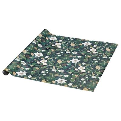VINTER 2020 Geschenkpapierrolle, Christrosenmuster grün, 3x0.7 m