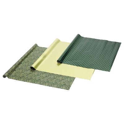 VINTER 2020 Geschenkpapierrolle, Mistelmuster/Punkte grün/goldfarben, 3x0.7 m/2.10 m²x3 Stück