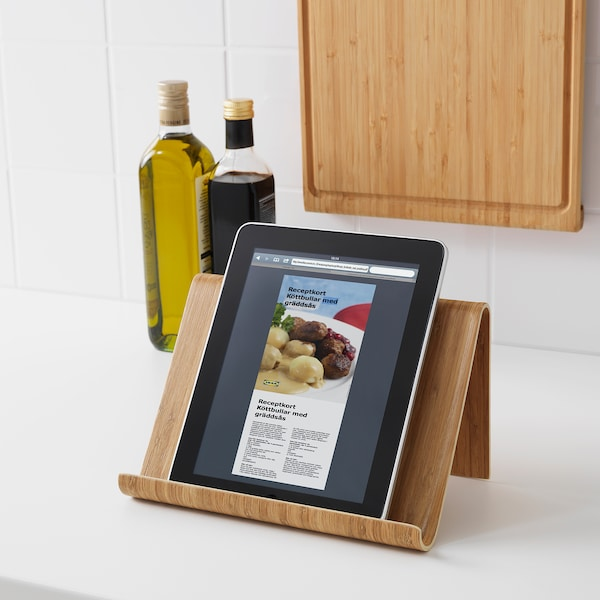VIVALLA Tablet-Halter Bambusfurnier 26 cm 16 cm 17 cm