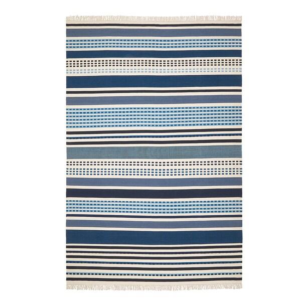 VONSILD Teppich flach gewebt, Handarbeit Blautöne, 200x300 cm