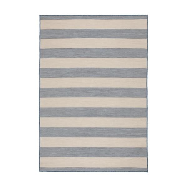 VRENSTED Teppich flach gewebt, drinnen/drau, beige/hellblau, 133x195 cm