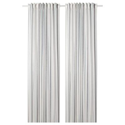 ÄDELSPINNARE curtains, 1 pair white/striped 250 cm 145 cm 1.08 kg 3.63 m² 2 pack