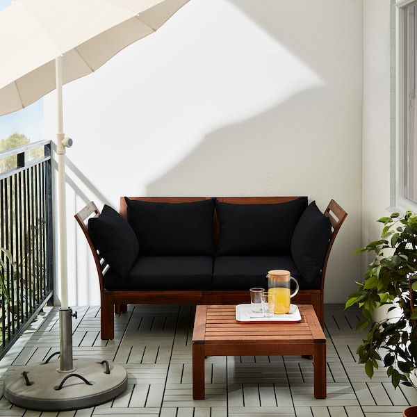 ÄPPLARÖ 2-seat modular sofa, outdoor brown stained/Hållö black 160 cm 80 cm 78 cm 45 cm 36 cm
