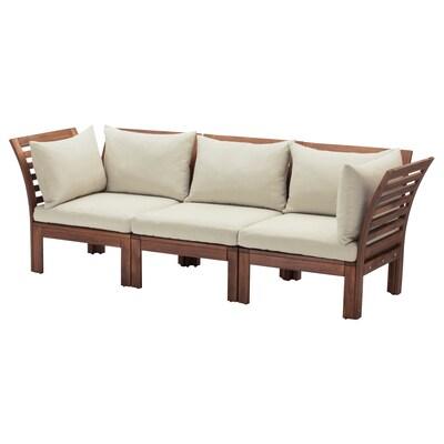 ÄPPLARÖ 3-seat modular sofa, outdoor, brown stained/Hållö beige, 223x80x78 cm