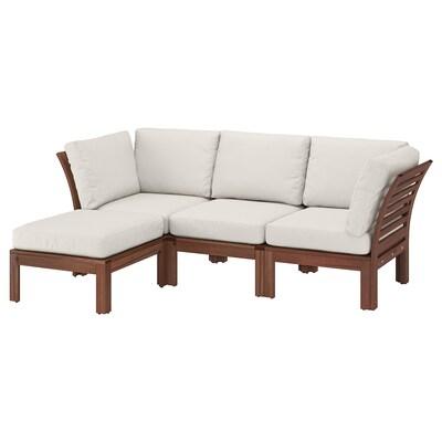ÄPPLARÖ 3-seat modular sofa, outdoor, with footstool brown stained/Frösön/Duvholmen beige, 143/223x80x84 cm