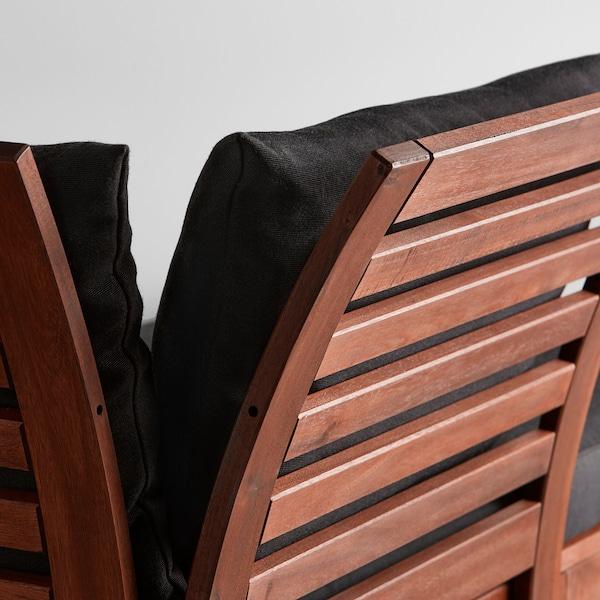 ÄPPLARÖ 3-seat modular sofa, outdoor, with footstool brown stained/Hållö black, 143/223x80x78 cm