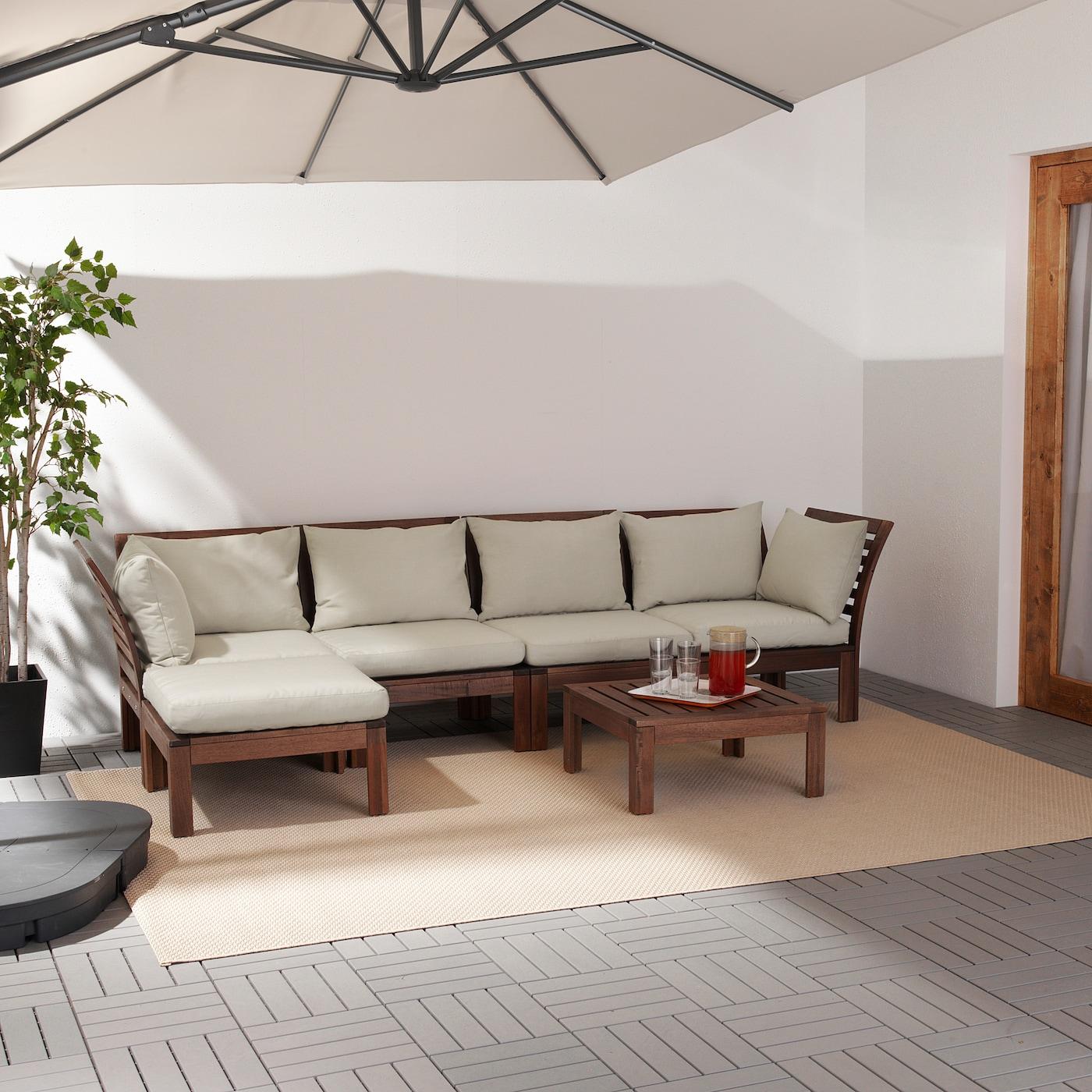 ÄPPLARÖ 4-seat modular sofa, outdoor with footstool brown stained/Hållö beige 80 cm 73 cm 286 cm 143 cm 36 cm