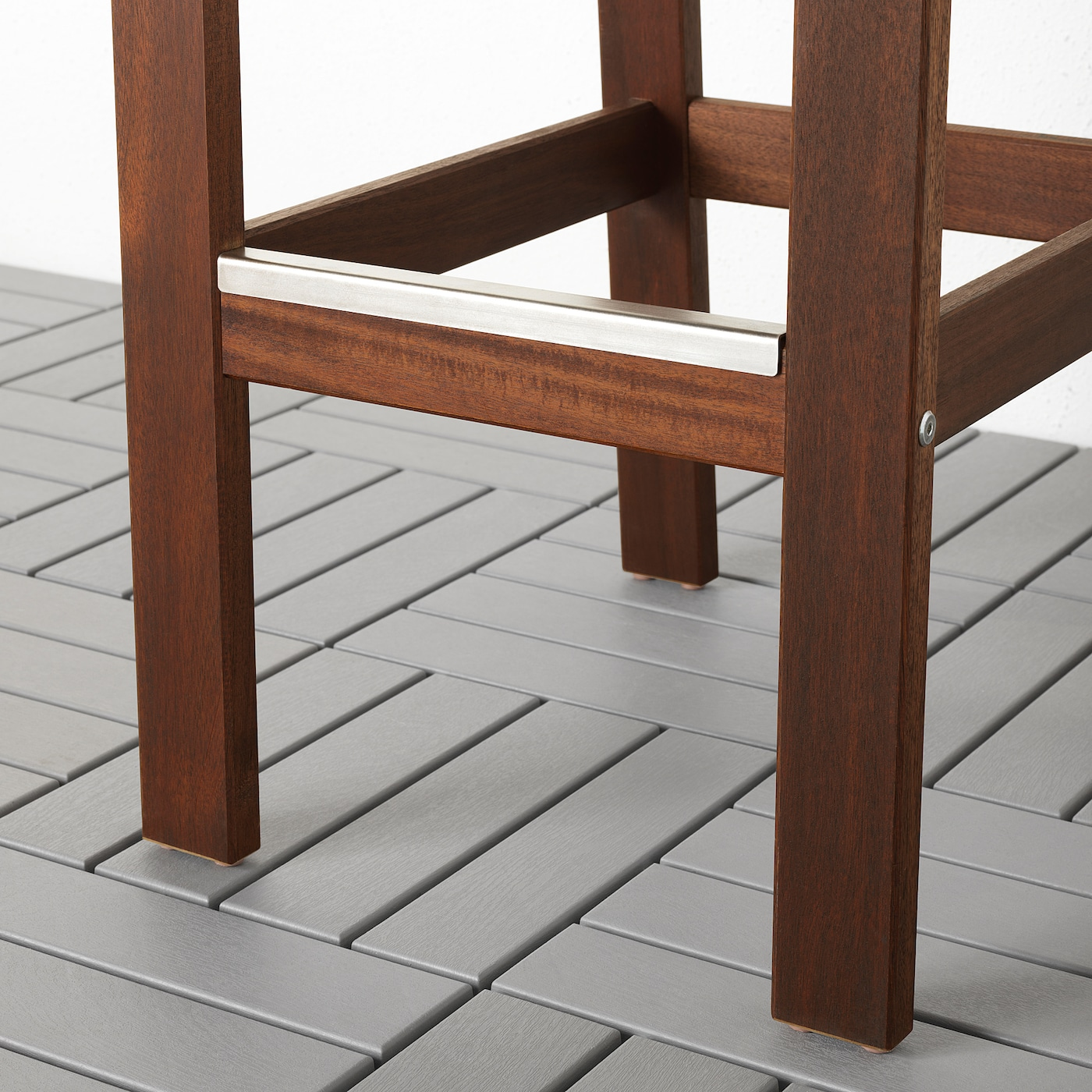 Applaro Bar Stool With Backrest Outdoor Brown Stained Ikea