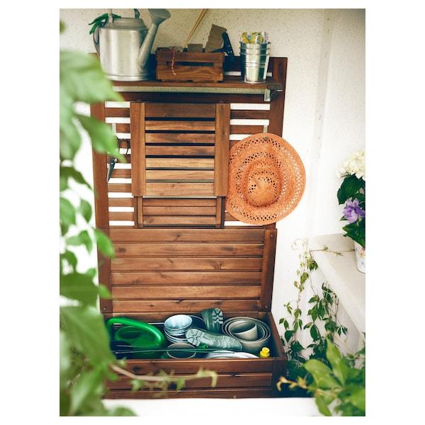 ÄPPLARÖ Bench w wall panel+ shelf, outdoor, brown stained, 80x44x158 cm