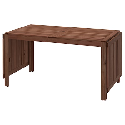 ÄPPLARÖ Drop-leaf table, outdoor, brown stained, 140/200/260x78 cm