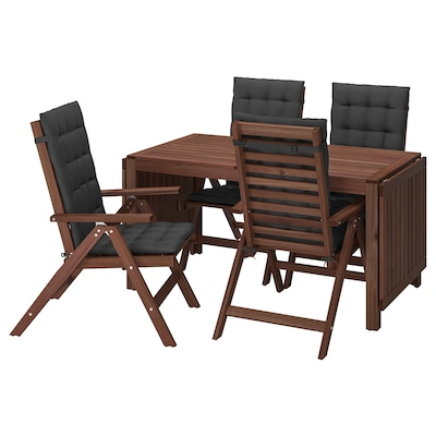 ÄPPLARÖ Table+4 reclining chairs, outdoor, brown stained/Hållö black