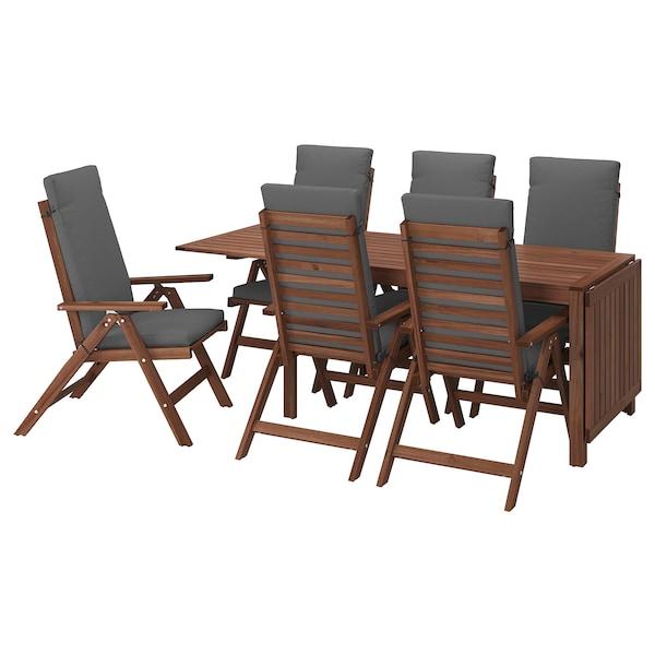 ÄPPLARÖ Table+6 reclining chairs, outdoor, brown stained/Frösön/Duvholmen dark grey