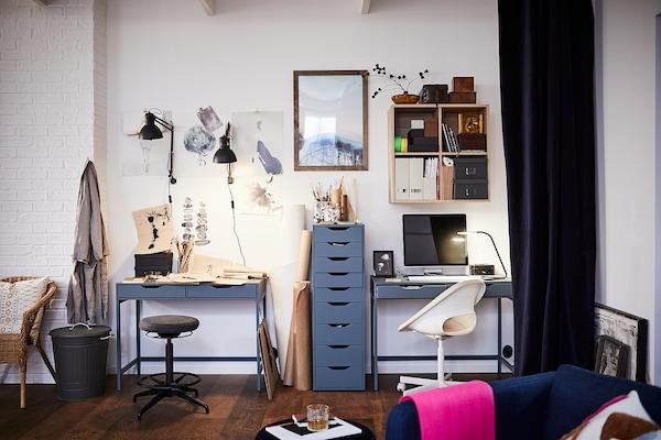 ALEX Desk, grey-turquoise, 100x48 cm