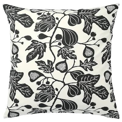 ALPKLÖVER Cushion cover, natural/dark grey, 50x50 cm