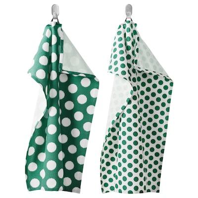 ALVALISA Tea towel, green/white, 50x70 cm