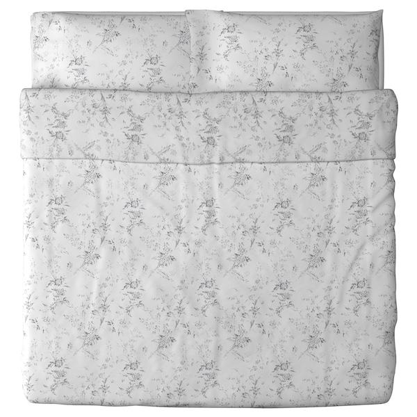 ALVINE KVIST Duvet cover and 2 pillowcases, white/grey, 240x220/50x80 cm