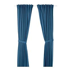 AMILDE curtains with tie-backs, 1 pair, blue