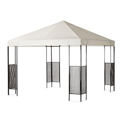 AMMERÖ gazebo, dark brown, beige