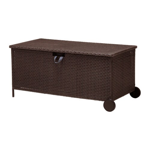 AMMERÖ Storage bench, outdoor IKEA Hand-woven plastic rattan looks like natural rattan but is more durable for outdoor use.