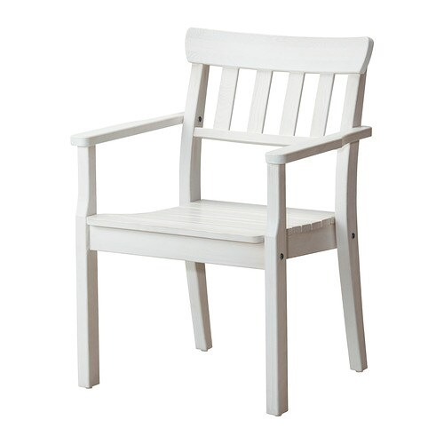 ÄNGSÖ Chair with armrests, outdoor IKEA You can stack up to four chairs on top of each other, which makes them easy to store.