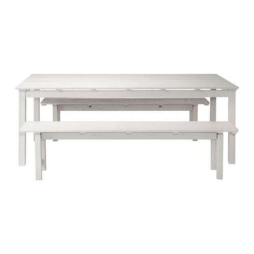 Ngs table 2 benches outdoor white stained ikea for Bancos de madera ikea