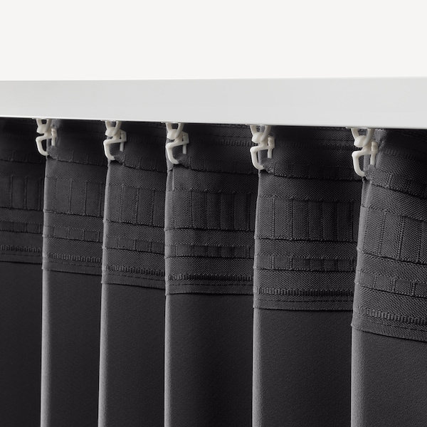 ANNAKAJSA Room darkening curtains, 1 pair, grey, 145x250 cm