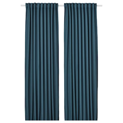 ANNAKAJSA room darkening curtains, 1 pair blue 250 cm 145 cm 3.36 kg 3.63 m² 2 pack
